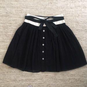 Black Pleated Button Skitt